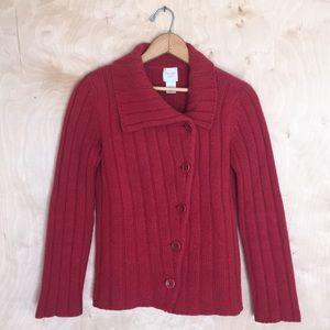 Garnet Hill Cashmere/Wool Cardigan Red